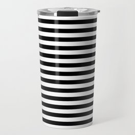 Midnight Black and White Horizontal Deck Chair Stripes Travel Mug
