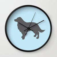 border collie Wall Clocks featuring Border Collie by Erin Rea