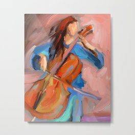 Cello Player Musician painting- Impressionism- Abstract- Framed Art Metal Print