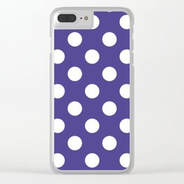 Dark slate blue - violet - White Polka Dots - Pois Pattern Clear iPhone Case