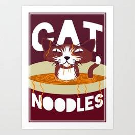 Cat Noodles Art Print