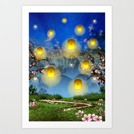 Yellow lanterns with cherry blossom and mountain temple Art Print