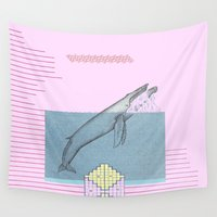 the whale Wall Tapestries featuring WHALE by MAR AMADOR