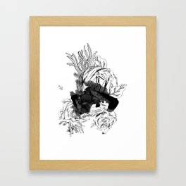ink flower Framed Art Print