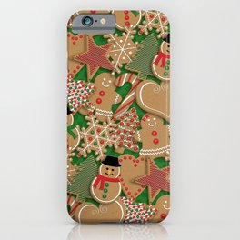 Christmas Holiday Gingerbread Cookies // Gingerbread Boys and Girls, Snowmen, Snowflakes, Xmas Trees and Candy Cane iPhone Case