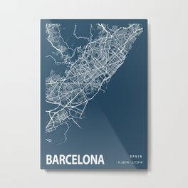 Barcelona Blueprint Street Map, Barcelona Colour Map Prints Metal Print