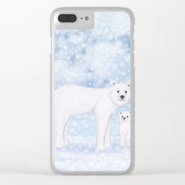 polar bears in the snow Clear iPhone Case