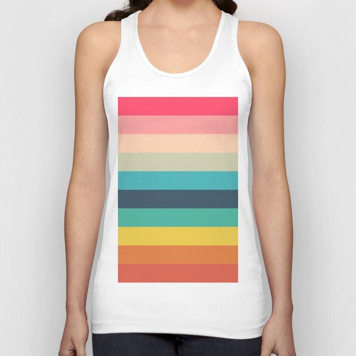 Colorful Timeless Stripes Totetsu Unisex Tanktop