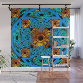 AWESOME BLUE & GOLD SUNFLOWERS  PATTERN ART Wall Mural