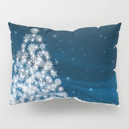 Blue Christmas Eve Snowflakes Winter Holiday Pillow Sham