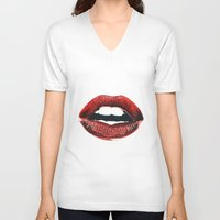 lips V-neck T-shirts featuring Lips by Nester Formentera