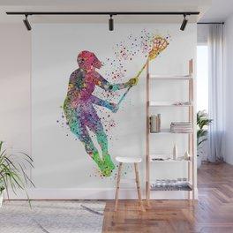 Lacrosse Girl Colorful Watercolor Sports Art Wall Mural