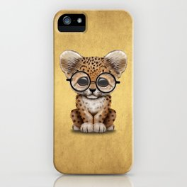 Cute Baby Leopard Cub Wearing Glasses on Yellow iPhone Case
