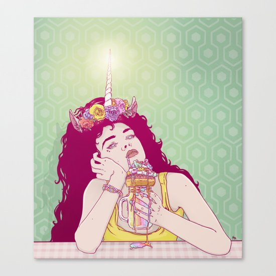 Unicorn Freakshake Lady Canvas Print
