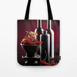 Red viburnum. Hypertonic still life. Tote Bag