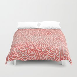 Peach echo and white swirls doodles Duvet Cover