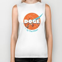 nasa Biker Tanks featuring Doge Nasa Variant (To The Moon!) by Tabner's