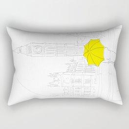 Yellow Umbrella Girl in London Rectangular Pillow