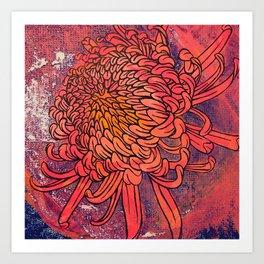 Chrysanthemum (Silk screen & fine liner) Art Print