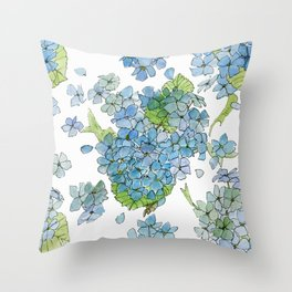 Blue Hydrangea Watercolor Throw Pillow