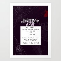 haunted mansion Art Prints featuring Haunted Mansion Fastpass by margybear