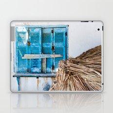 Distressed Blue Wooden Shutters and Beach Umbrella in Crete. Laptop & iPad Skin
