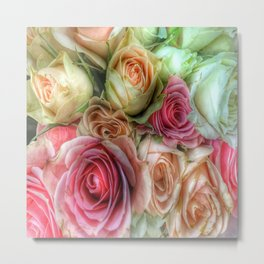 Roses - Pink and Cream Metal Print