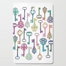 Rainbow Keys on White Cutting Board