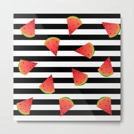 Watermelon on the striped background Metal Print
