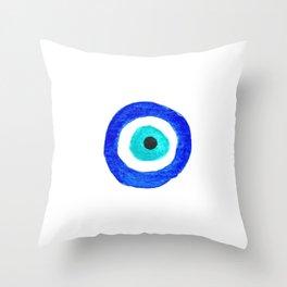 Single Evil Eye Amulet Talisman Ojo Nazar - on white Throw Pillow