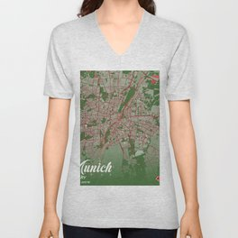 Munich - Germary Christmas Color City Map Unisex V-Neck