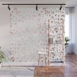 Rose Gold On White Foil Paint Line Dots Stripes Design XVIII Wall Mural