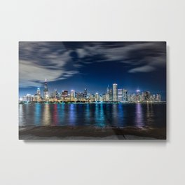 The Chicago Skyline from the Adler Planetarium Metal Print
