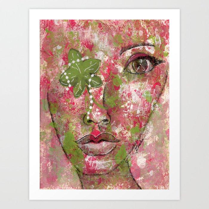 Come Thru Pink and Green Art Print