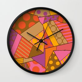 Graphic Leaf Patchwork (Fall Bold Colors) Wall Clock