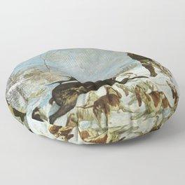 Gustave Courbet - The kill of deer Floor Pillow