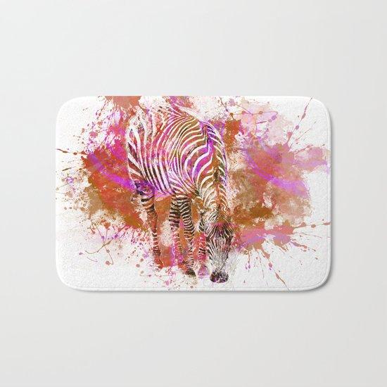 Crazy Zebra paint splatter artwork Bath Mat