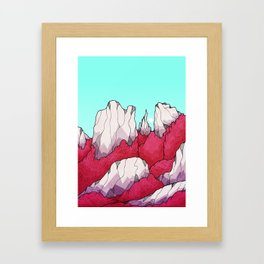 Red forest hills Framed Art Print