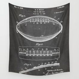 Football Patent - American Football Art - Black Chalkboard Wall Tapestry