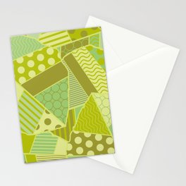 Graphic Leaf Patchwork (Spring Green Bold Colors) Stationery Cards