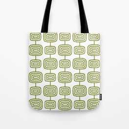 Mid Century Modern Atomic Rings Pattern Olive Green 3 Tote Bag
