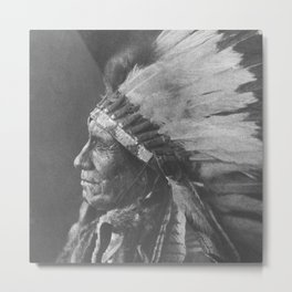 Native American Oglala Tribe 'American Horse' Chief portrait black and white American West photograph Metal Print