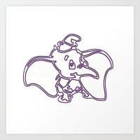 dumbo Art Prints featuring Dumbo by Beastie Toyz