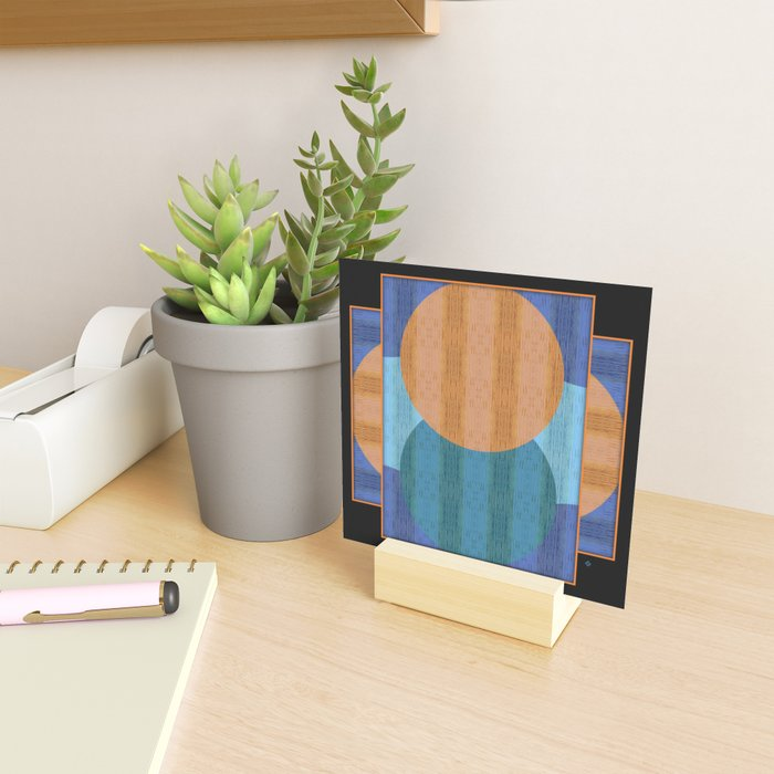 Orange Blues Geometric Shapes Mini Art Print
