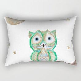 Owl Fun #5 #mint #green #gold #drawing #decor #art #society6 Rectangular Pillow
