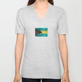 Vintage Aged and Scratched Bahamas Flag Unisex V-Neck