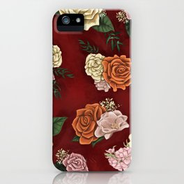Red luxury flowers iPhone Case