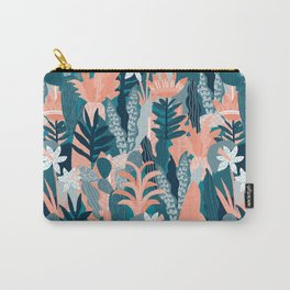Seamless pattern with fantasy flowers, natural wallpaper, floral decoration curl illustration. Paisley print hand drawn elements. Abstract jungle Carry-All Pouch