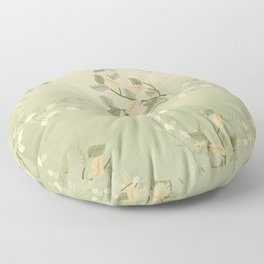 Sage Green Watercolor Woodland Leaves Floor Pillow