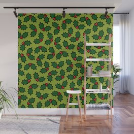 Holly Leaves and Berries Pattern in Light Green Wall Mural